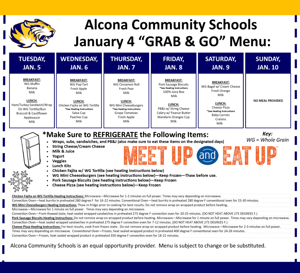 "Reminder: We are hosting another meal ""GRAB & GO"" today, Tuesday January 5 from 10am-1pm in the middle school parking lot. Meals are free and available to all children age 18 and younger."