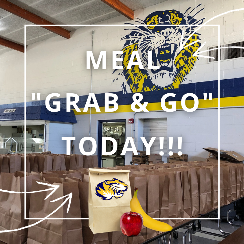 "Our meal ""Grab & Go"" just started! Make sure to stop by the middle school parking lot today until 1pm (or while supplies last). We will be providing 5 days of breakfast and lunch. Meals are FREE and available for all youth ages 18 and younger."