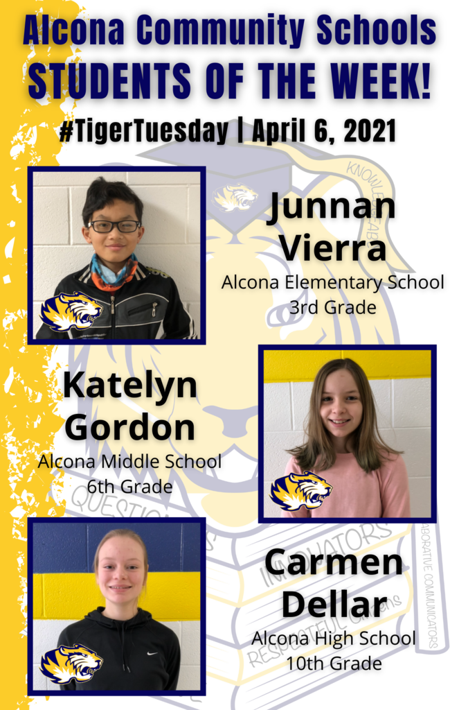 Congratulations to Junnan, Katelyn, and Carmon on being named students of the week! Students are nominated by school staff and selected based on their dedication and commitment to the eight traits of an Alcona graduate. #AlconaPride #TigerTuesday #StudentoftheWeek