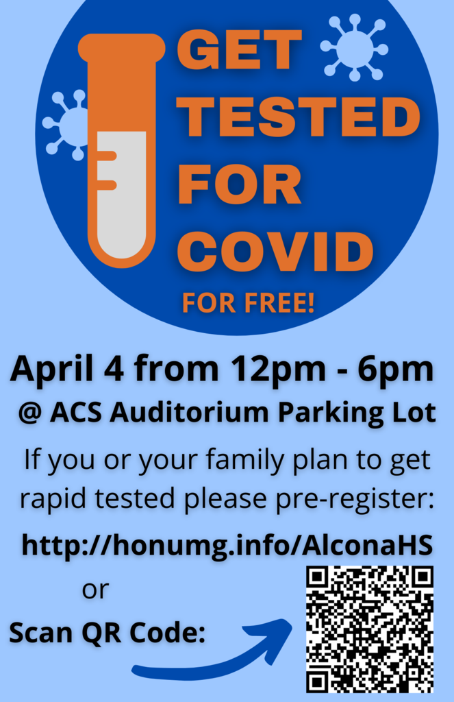 There is a free COVID-19 rapid testing opportunity TODAY, Sunday, April 4 from 12pm-6pm at Alcona Community Schools auditorium parking lot. Testing is for all students, staff, and community members interested.