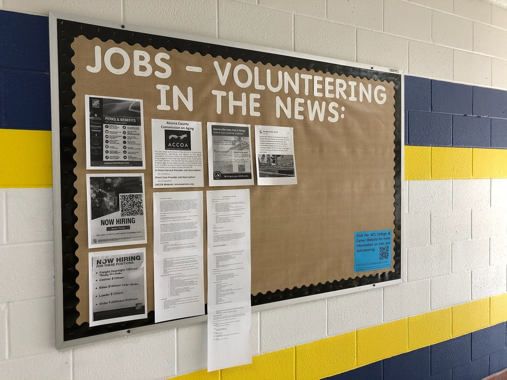 Know of any jobs or volunteering opportunities in Alcona County? Please send flyers and information to Mrs. Cordes to display for our students and share with them via email. Send postings to: cordesh@alconaschools.net