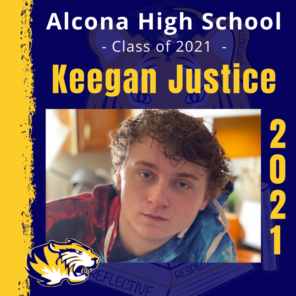 Today's senior spotlight is Keegan Justice! Congratulations, Keegan! We look forward to seeing what your future holds as an Alcona Alumni. #ACSClassof2021 #SeniorSpotlight #TigerPride #DecisionDay