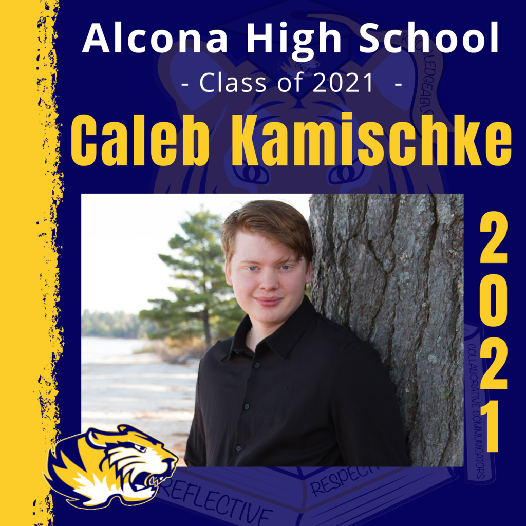 Today's senior spotlight is Caleb Kamischke! Congratulations, Caleb! We look forward to seeing what your future holds as an Alcona Alumni. #ACSClassof2021 #SeniorSpotlight #TigerPride #DecisionDay