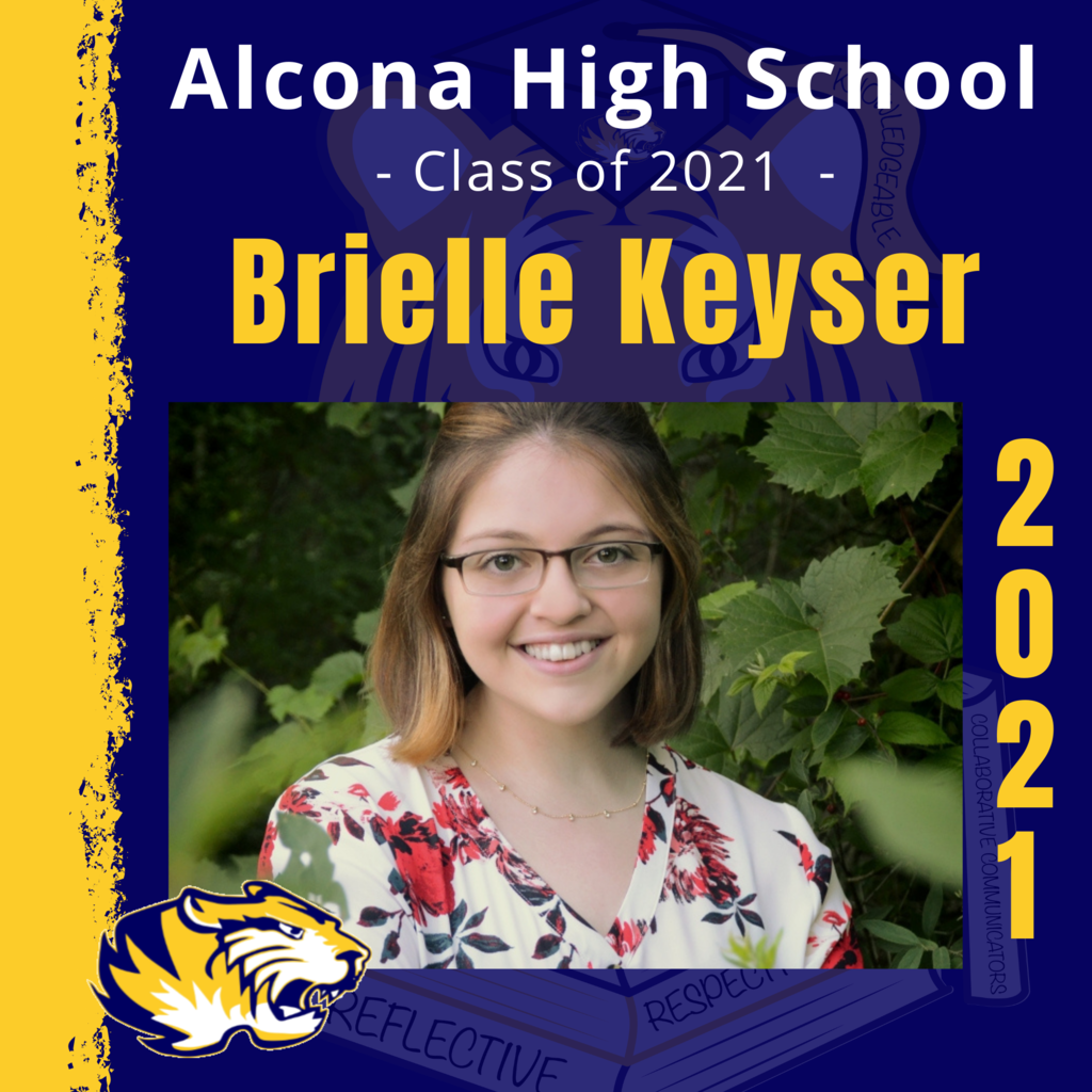 Today's senior spotlight is Brielle Keyser! Congratulations, Brielle! We look forward to seeing what your future holds as an Alcona Alumni. #ACSClassof2021 #SeniorSpotlight #TigerPride #DecisionDay