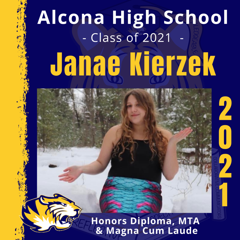 Today's senior spotlight is Janae Kierzek! Congratulations, Janae! We look forward to seeing what your future holds as an Alcona Alumni. #ACSClassof2021 #SeniorSpotlight #TigerPride #DecisionDay