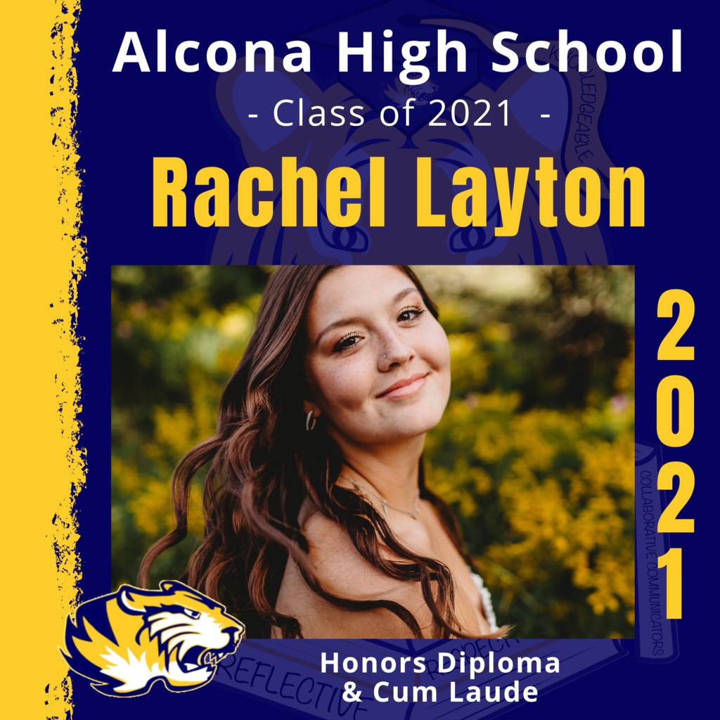 Today's senior spotlight is Rachel Layton! Congratulations, Rachel! We look forward to seeing what your future holds as an Alcona Alumni. #ACSClassof2021 #SeniorSpotlight #TigerPride #DecisionDay