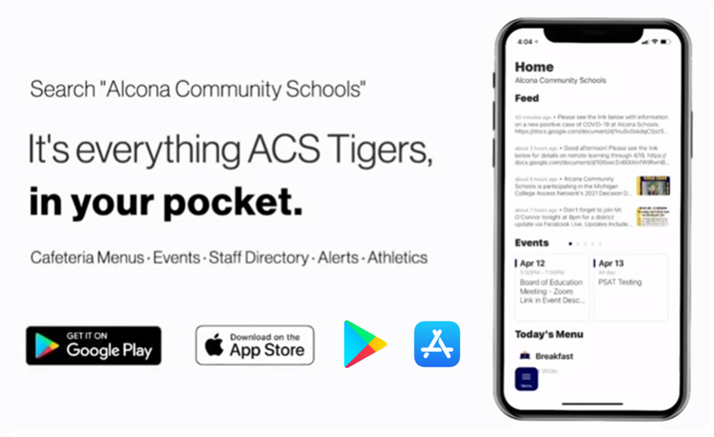 "Exciting news! ACS App has been updated! Did you know that through our App you can check the lunch menu, email teachers and staff, see events and add them to your calendar, see school updates live, and more? Search ""Alcona Community Schools"" in the iPhone App or Google Play Store to start exploring! https://youtu.be/ocKMYkfFFDA"