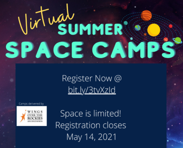 Check out these exciting opportunities through the MiSTEM Network! Virtual summer space camps are run by Wings Over the Rockies Air & Space Museum and are open for students in 3rd -11th grade. 6 different camp opportunities are available, from Living on Mars to 3D Printing! For more information and to register by the May 14th deadline please see the flyer at: https://drive.google.com/file/d/15wdeMjacsrFKL3-Zx8ZOp91YD5s0OQ1f/view?usp=sharing