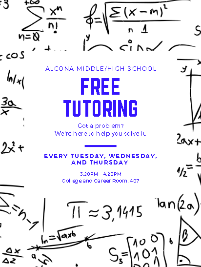 We're excited to offer free tutoring for middle and high school students! Join us every Tuesday, Wednesday, and Thursday in room 407.