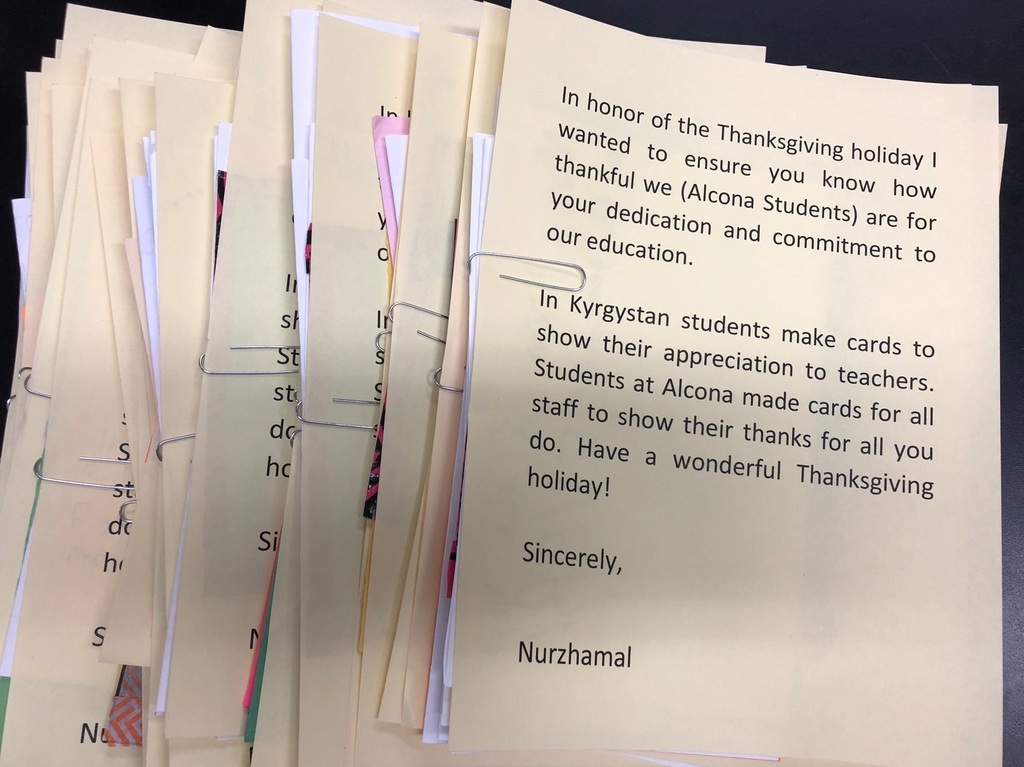 In honor of the Thanksgiving holiday middle and high school students made cards to show how thankful they are for staff at Alcona Community Schools and the dedication they have to our student's education. Thank you, Alcona students!