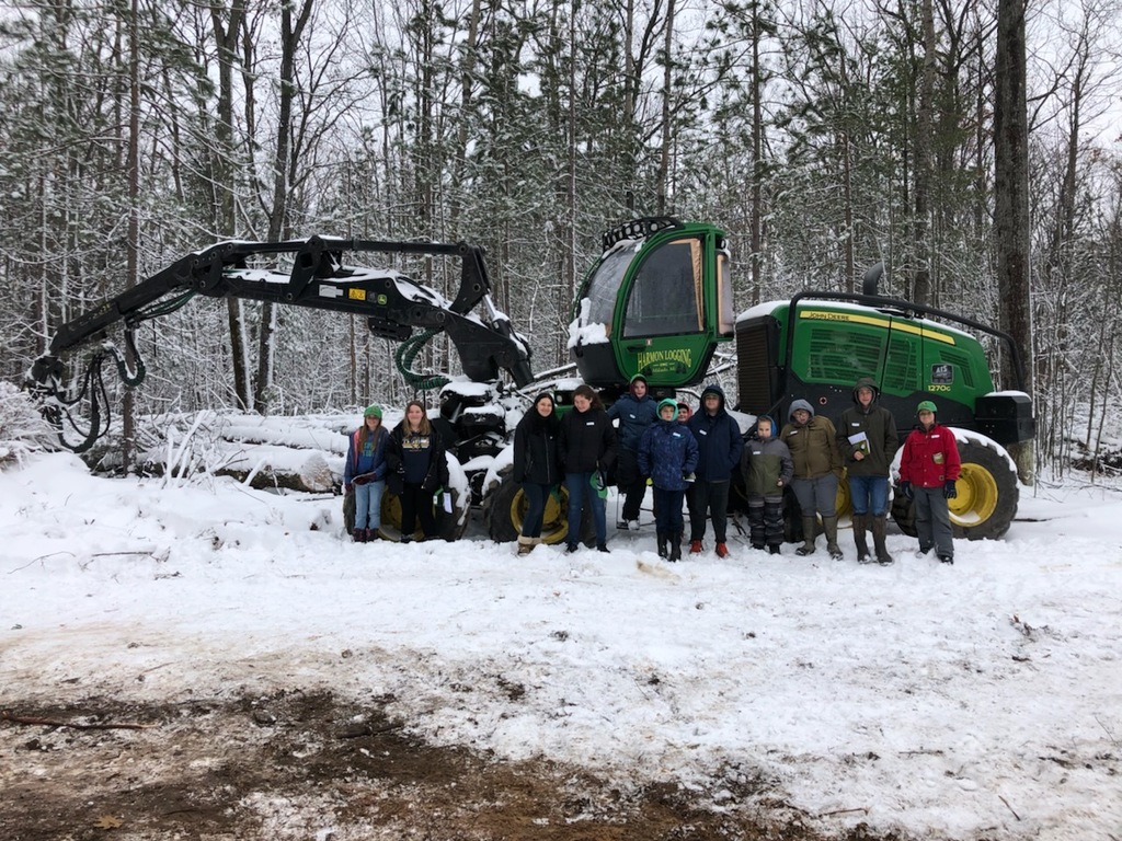 Did you know MI has 13.9 billion trees? Today 75 Alcona MS/HS students got to see a live logging operation up close at our forest in Caledonia. Students learned about silviculture, forest succession, career opportunities, machinery, safety, and the process from mill to product.