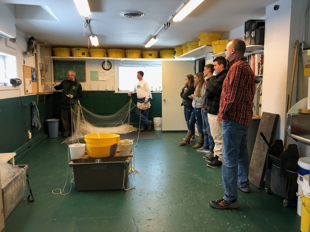 Alcona HS students had the opportunity to meet experts and tour the DNR Fisheries Research Station in Alpena. This career experience allowed students to meet fisheries biologists, technicians, captains, etc. Students even got to see the different types of fish aging up close!