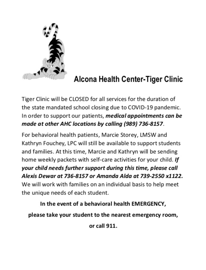 Students and Families, please see the attached flyers for information on our mental health after-hours care for students K-12. Our behavioral health team at Alcona Schools and Alcona Health Center is here to support you.
