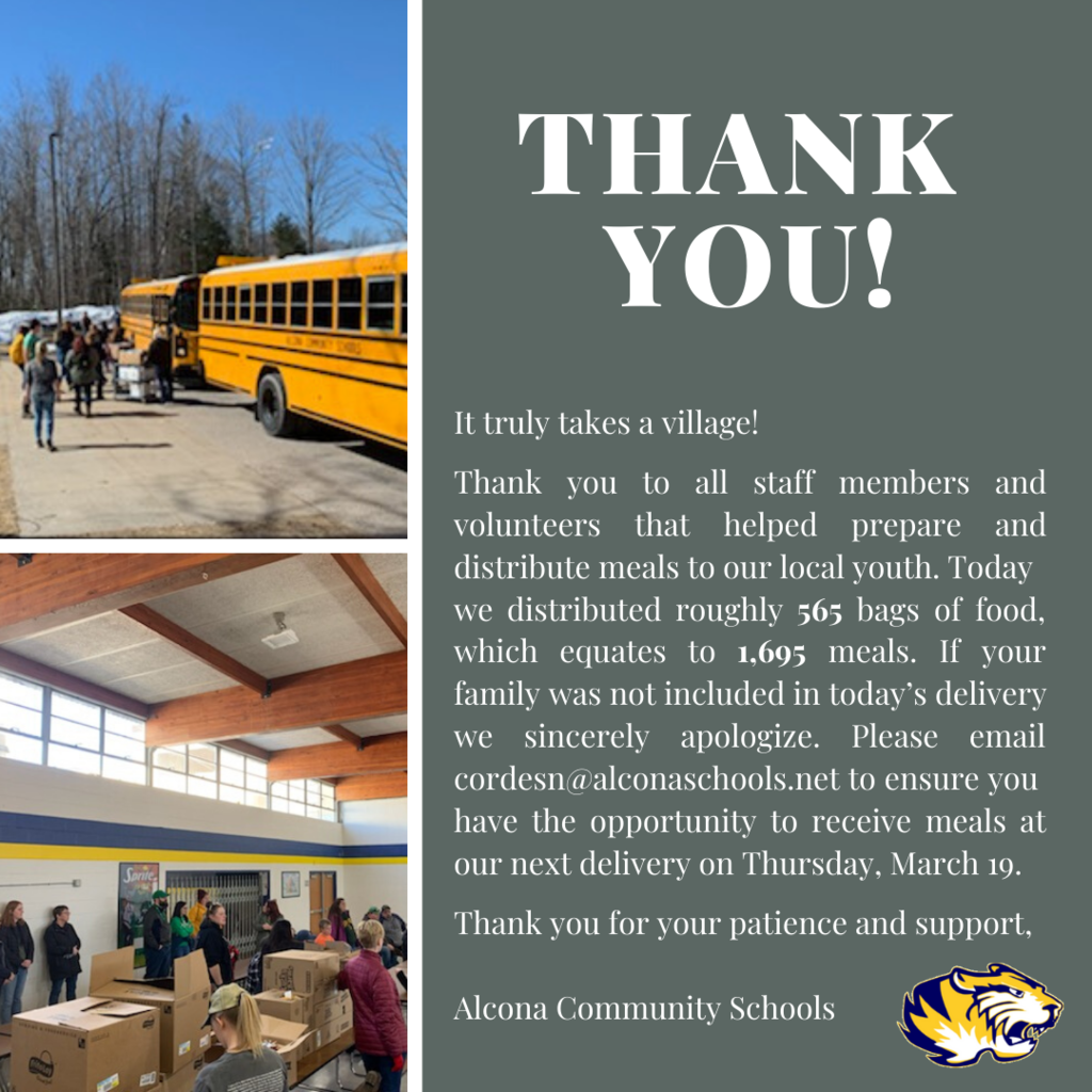 Thank you to all staff members and volunteers that helped prepare and distribute meals to our local youth. Today we distributed roughly 565 bags of food, which equates to 1,695 meals. We are honored to be a part of such a giving community!