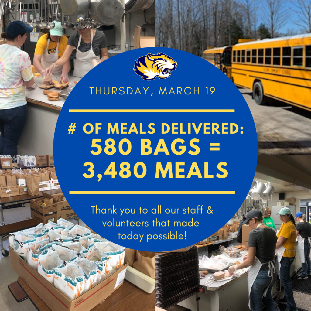 "Thank you to all staff members and volunteers that helped prepare and distribute 3,480 meals today! We will be doing a ""GRAB & GO"" tomorrow, March 20 from 10am-12pm, in the middle school parking lot while supplies last. The meals are for all youth up to age 18."