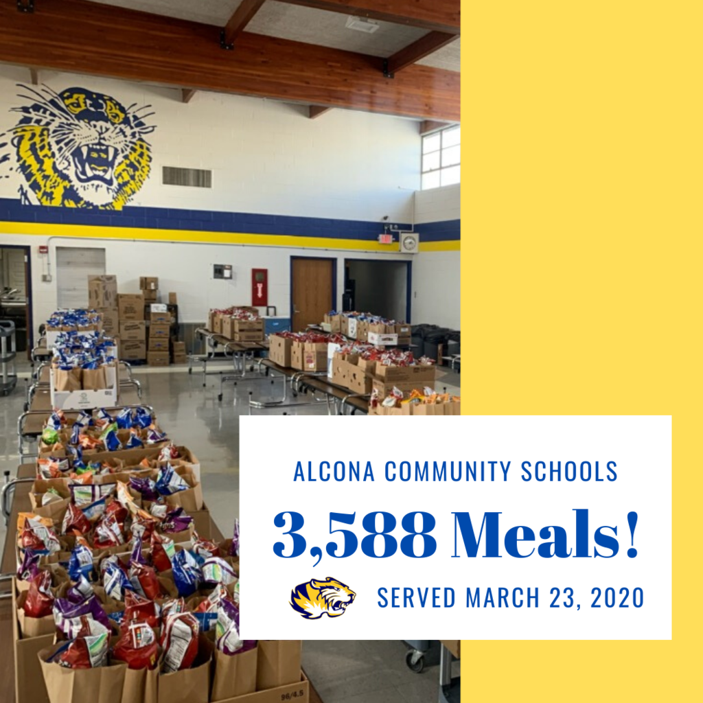 "Thank you to all staff members and volunteers that helped prepare and distribute 3,588 meals today! We will be doing a ""GRAB & GO"" tomorrow, March 24 from 10am-12pm, in the middle school parking lot while supplies last. The meals are for all youth up to age 18."