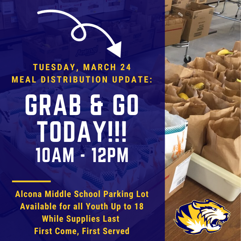 "Stop by for a ""GRAB & GO"" today from 10am-12pm, in the middle school parking lot while supplies last. The meals are for all youth up to age 18. Just pull up to grab your meal(s), do not exit your vehicle."
