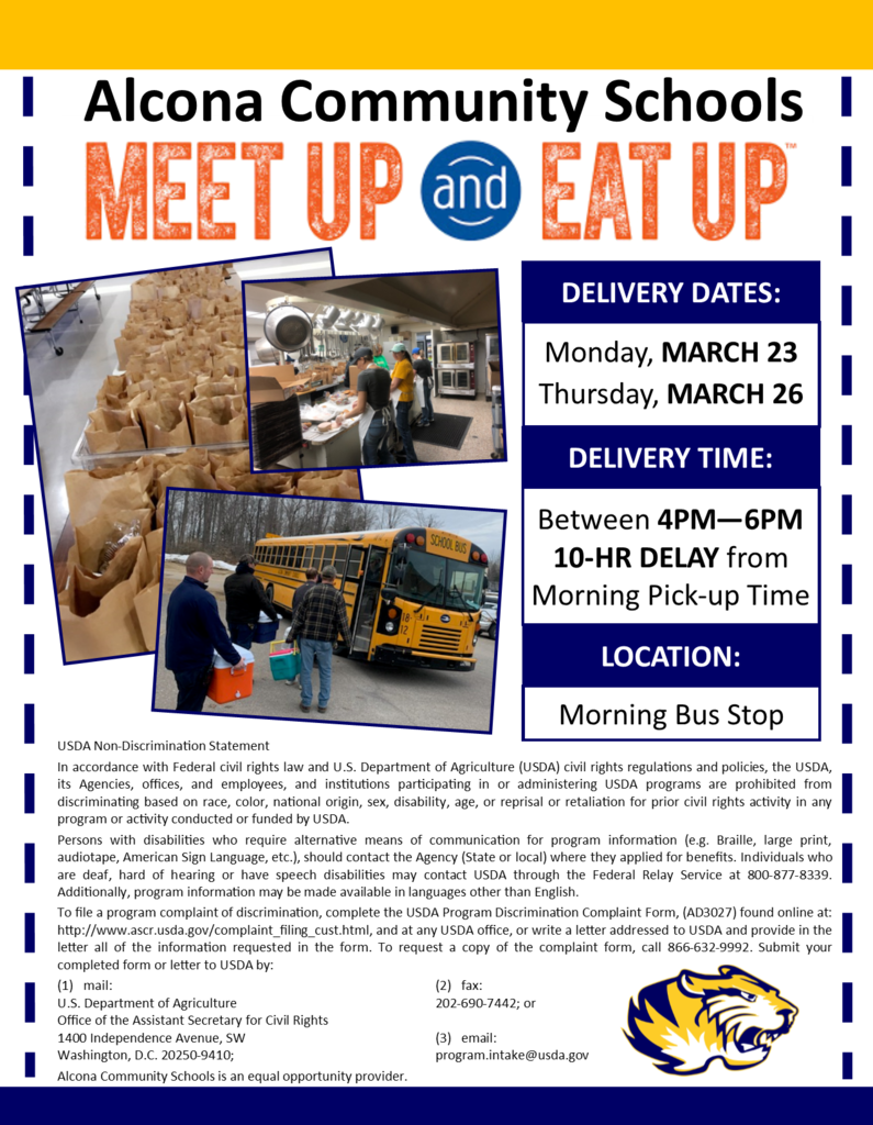 Food is on the way TODAY for ALL students! Make sure to be at your morning bus stop between 4pm-6pm (10 hours after your regular morning pick-up time). Families can opt out of meals at the time of delivery. Please do not enter the school bus, a volunteer will distribute meals.