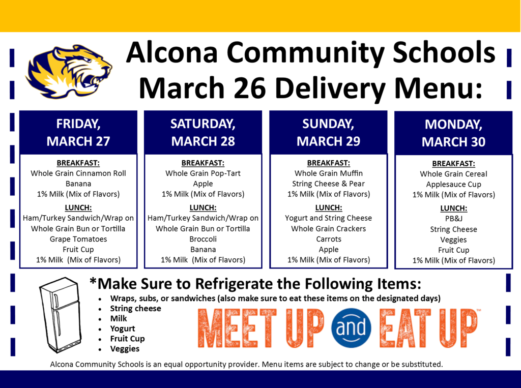 Buses have departed and are on the way to deliver meals to students that live on bus routes. Please be at your morning bus stop location between 4pm-6pm (10 hrs after your regular morning pick-up time). Do not enter a bus, volunteers will distribute meals. Questions? 989-736-6212