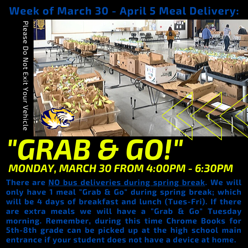 "Next week during spring break we will only have 1 food distribution. It will be a ""GRAB & GO"" on Monday, March 30 from 4:00pm to 6:30pm. We will be providing 4 days of breakfast and lunch. There will be NO school bus deliveries."