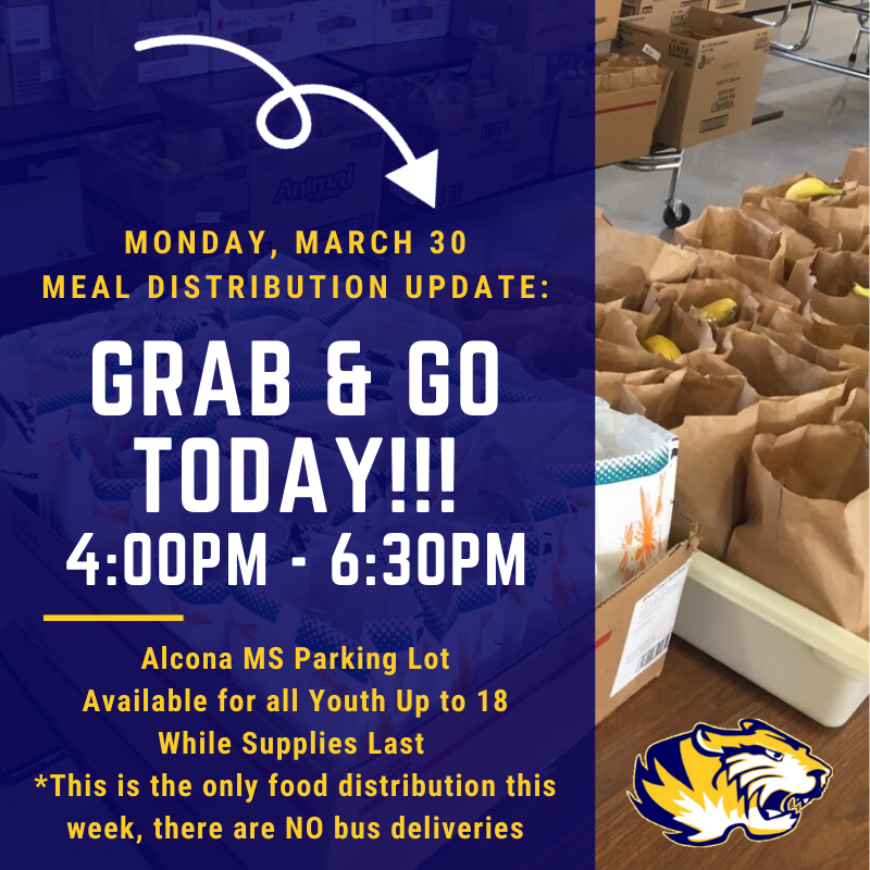 "We have a ""GRAB & GO"" today, Monday, March 30 from 4:00pm to 6:30pm! We will be providing 4 days of breakfast and lunch. Please note this is the only food distribution this week and we will NOT be delivering during school bus this week."