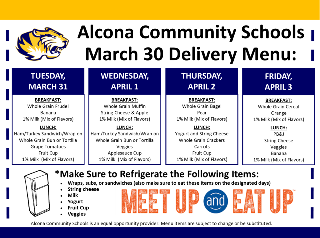 "Don't forget about our ""GRAB & GO"" today from 4pm-6:30pm for all students up to age 18. This is the only food distribution this week, we are not delivering by school bus. Please do not exit your vehicle. 5th-8th grade can pick chrome books up in front of the HS during this time."