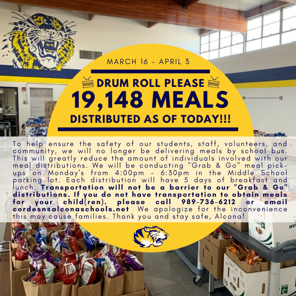 "Shout out to all our staff and volunteers that have made our meal distributions possible! Our total meal distribution as of today is 19,148! Our next meal distribution is a ""Grab & Go"" on Monday, April 6 from 4:00pm – 6:30pm; which will include 5 breakfasts and lunches."