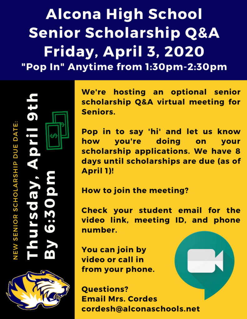 Attention Seniors: We're hosting a senior scholarship Q&A. You're invited to join us, get questions answered, and share how you're doing on your senior scholarship applications. Check your email for the Google Hangouts video link and phone number.
