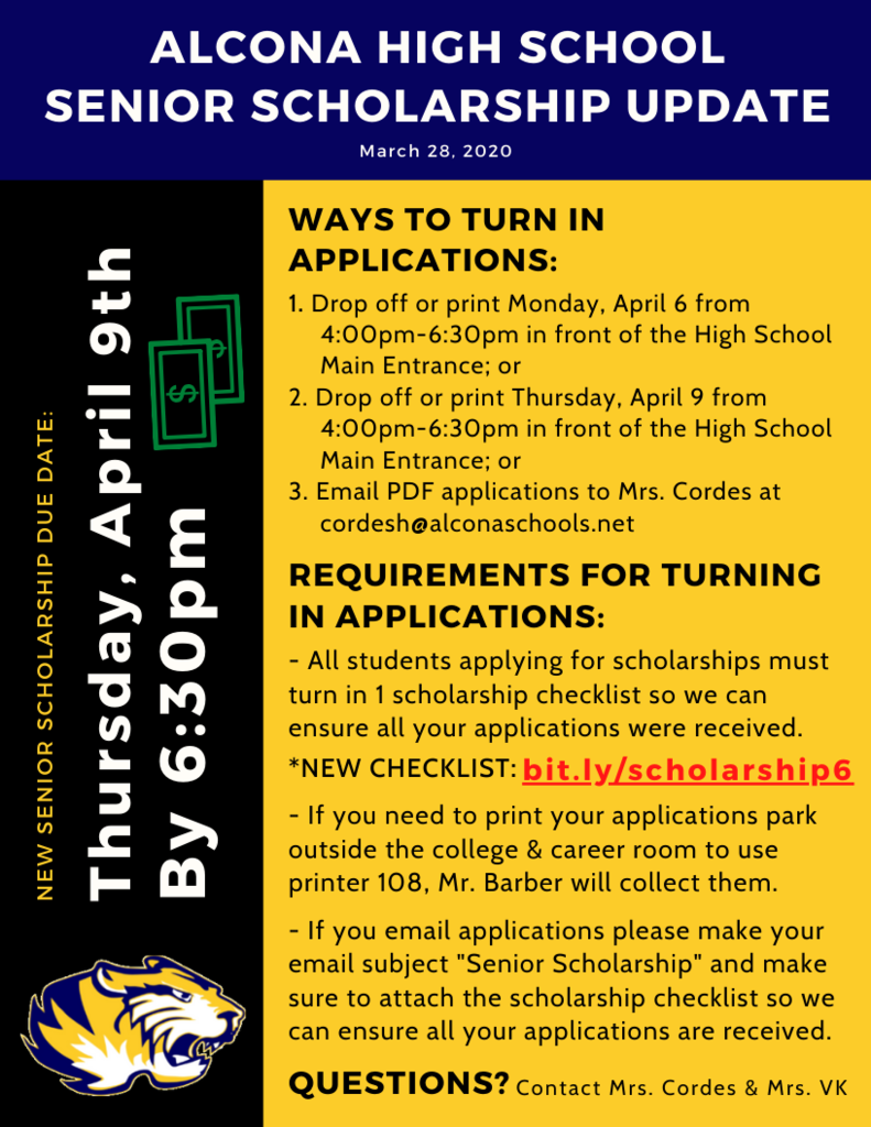 Seniors, don't forget to turn in your scholarship applications. You can turn them in today, Monday, April 6 from 4:00pm-6:30pm in front of the HS main entrance. See flyer for additional information.