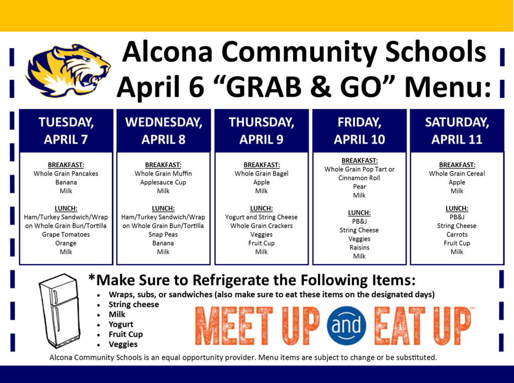 "Don't forget about our meal ""GRAB & GO"" today from 4:00pm-6:30pm for all students up to age 18. This is the only food distribution this week. Please do not exit your vehicle."