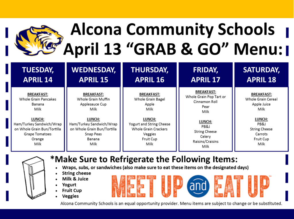 "Our ""GRAB & GO"" today from 4:00pm-6:30pm will be starting soon! Meals are for all students up to age 18. Please do not exit your vehicle, a volunteer will distribute meals."
