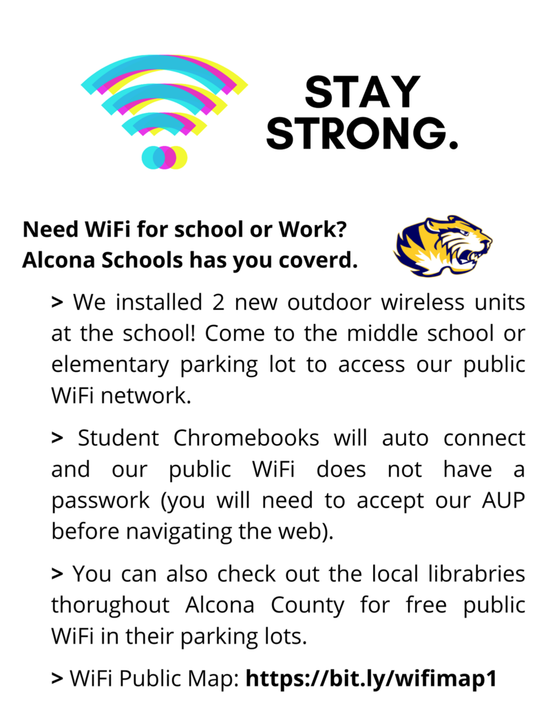 We are excited to announce that we have installed 2 new outdoor wireless units in our middle and elementary school parking lots! Need WiFi for school or work? Alcona Schools has you covered.