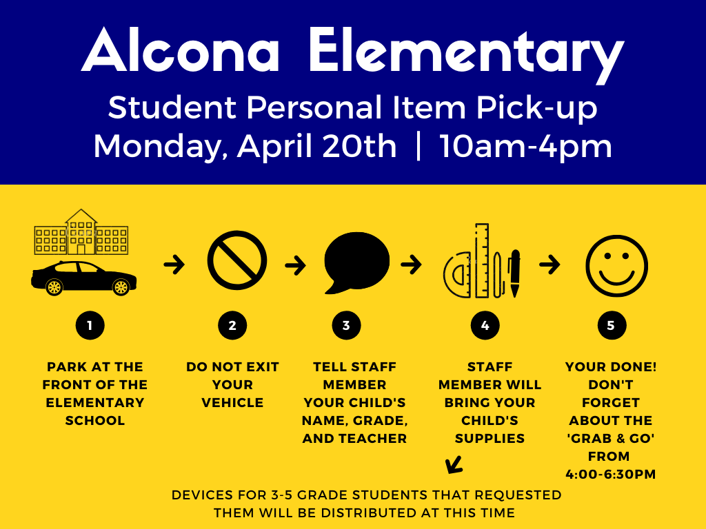 Families, don't forget about our personal belonging pick-up tomorrow from 10am-4pm and our meal grab & go from 4pm-6:30pm. Please do not exit your vehicle for either pick-up. Staff members will distribute personal belongings and meals.   Personal Belonging Pick-up Flyers:  Elementary: https://bit.ly/alconapickup1  Middle/High: https://bit.ly/alconapickup2  Pick-up FAQ: https://bit.ly/2xwotIf