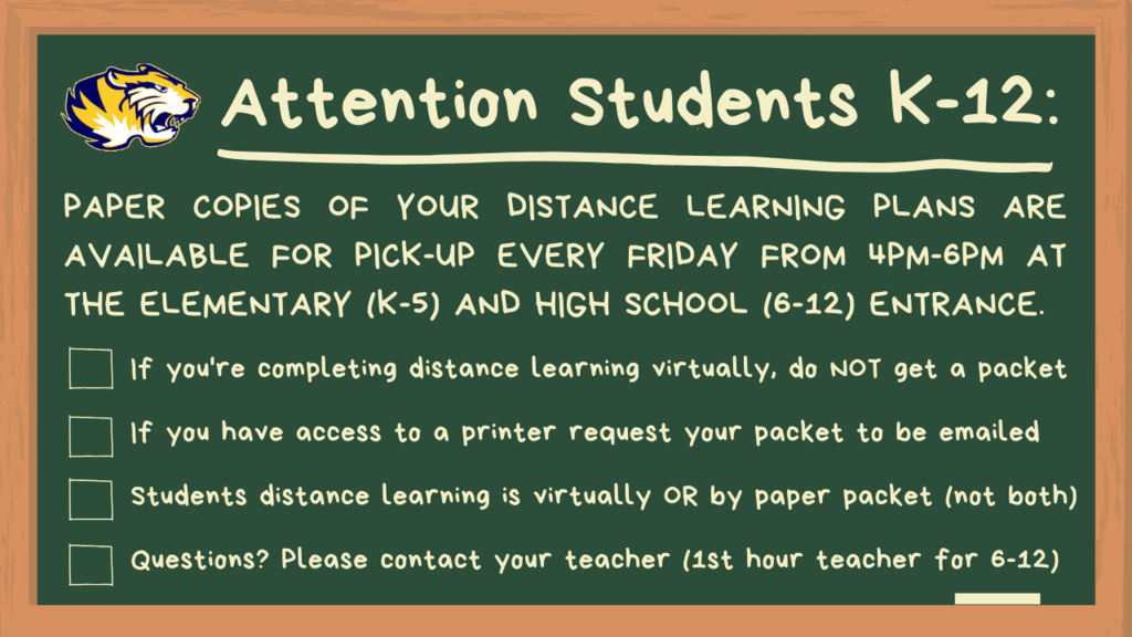 Our distance learning kicked off this week! For students that indicated they do not have access to online distance learning, we will have paper copies available for pick-up every Friday staring April 24. Please do not exit your vehicle.