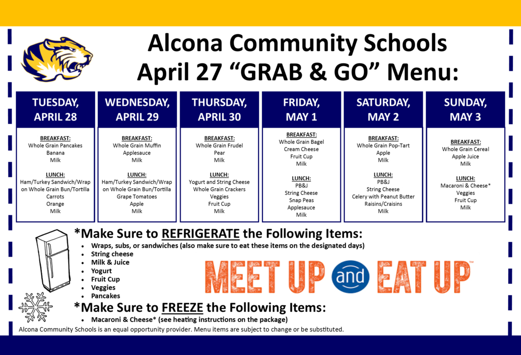 "Our ""GRAB & GO"" today from 4:00pm-6:30pm will be starting soon! Meals are for all students up to age 18. Please do not exit your vehicle. If able, open your trunk from inside your vehicle so a staff member can place your meals directly into your trunk."