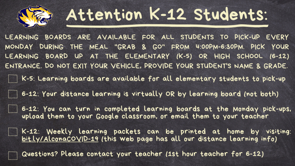 "Our week 2 learning boards will be available for pick-up this Monday, May 4 during the meal ""Grab & Go"" from 4:00pm-6:30pm. To access and print your student's learning board from home visit: bit.ly/AlconaCOVID-19"