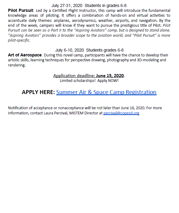 Michigan Air and Space Virtual Summer Camp Flyer